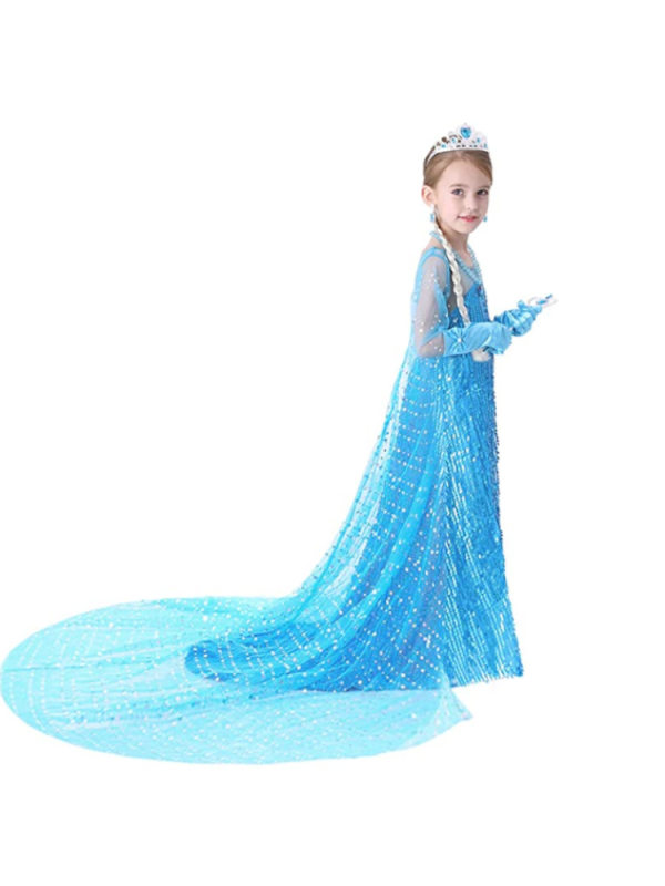 【3Y-8Y】Girls Princess Dress Sequined Long Floor Mopping Dress With Detachable Cloak