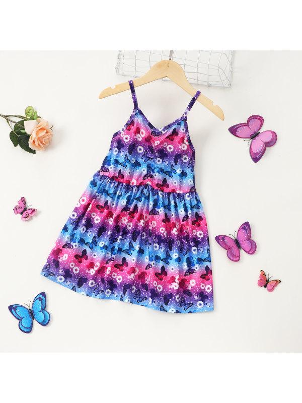 【18M-6Y】Girls Butterfly Print Color Stripe Sling Dress