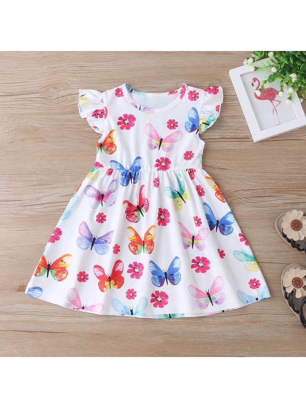 【12M-5Y】Girls Colorful Butterfly Flower Flying Sleeve Dress