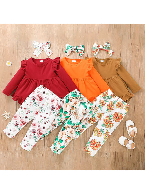【18M-7Y】Girls Lace Skirt And Trousers Three-piece Suit
