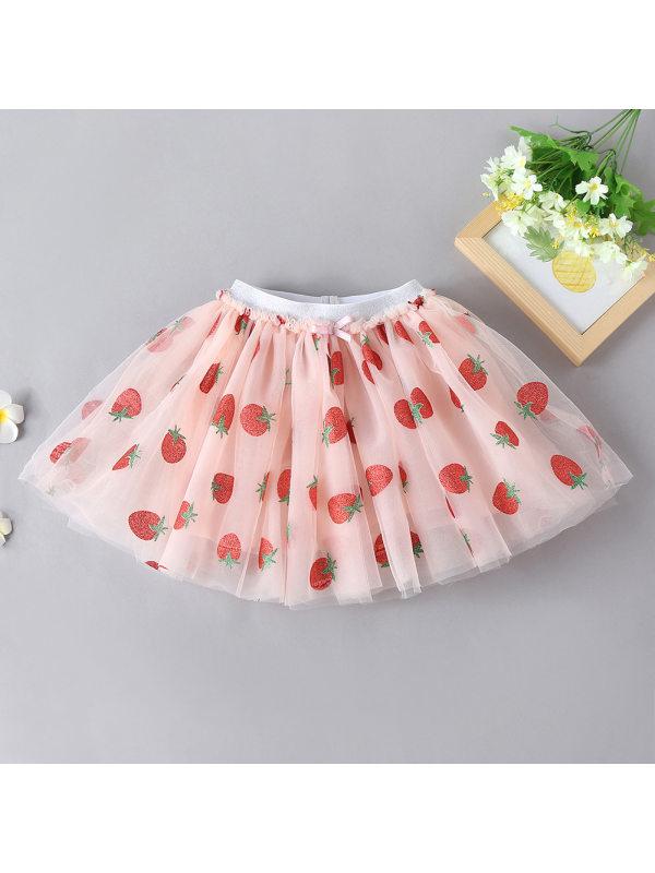 【18M-7Y】Girl Sweet Strawberry Print Pink Mesh Skirt