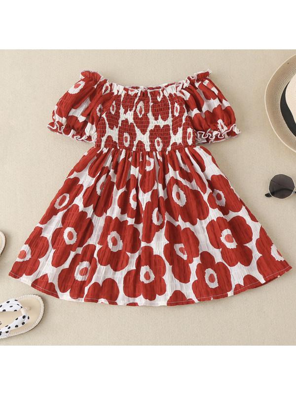 【18M-7Y】 Girls Off Shoulder Floral Print Dress