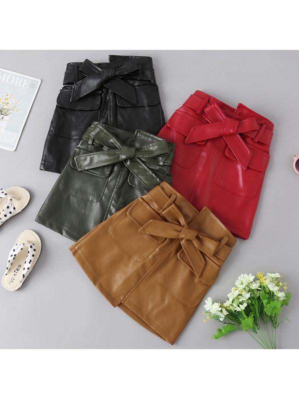 【18M-7Y】Girls Fashion Sweet Leather Skirt