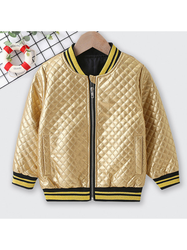【18M-7Y】 Casual Gold Long Sleeve Coat