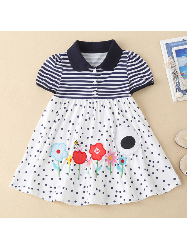 【18M-7Y】Girls Sweet Floral Embroidered Striped Dress