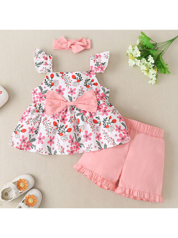 【12M-5Y】Girl Sweet Red Flower Print Blouse And Shorts Set