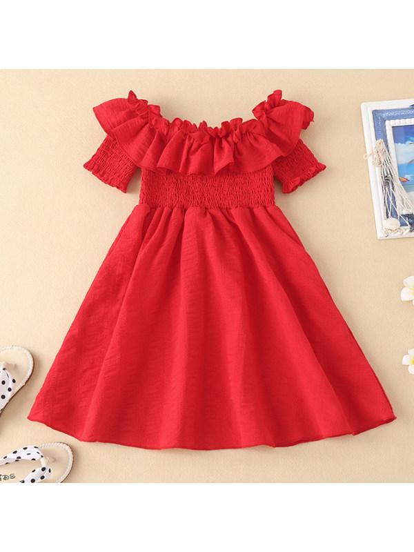 【18M-7Y】Girls Sweet Ruffled Red Dress
