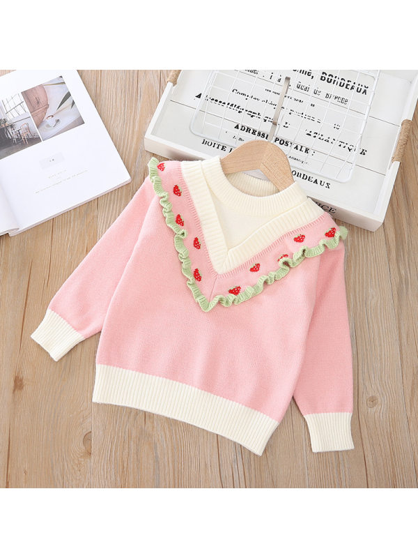 【2Y-9Y】Girls Strawberry Long Sleeve Sweater