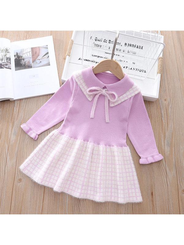 【18M-7Y】Girls Long Sleeve Woolen Check Pleated Dress