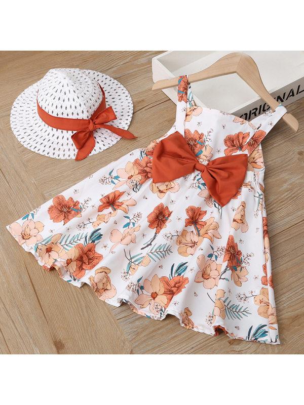 【18M-7Y】Girl Sweet Flower Print Sleeveless Dress With Hat