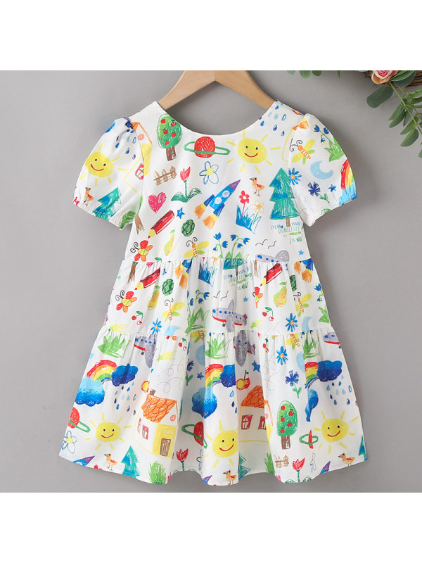 【18M-7Y】Girls Sweet Rainbow Print Back Bow Dress