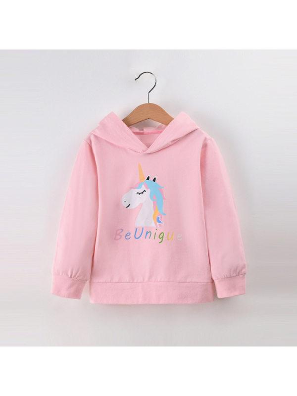 【18M-7Y】Girl Pink Cartoon Print Hooded Sweatshirt