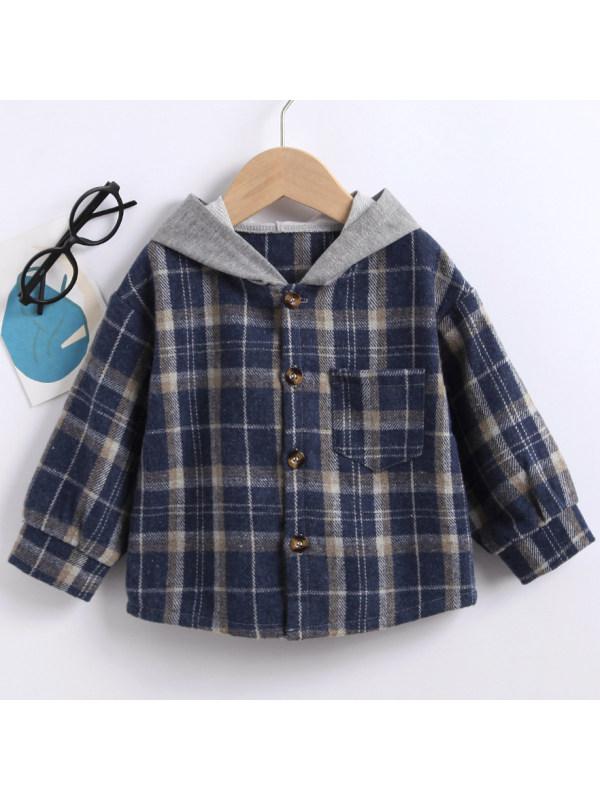 【18M-7Y】Boys Casual Blue Plaid Hooded Shirt