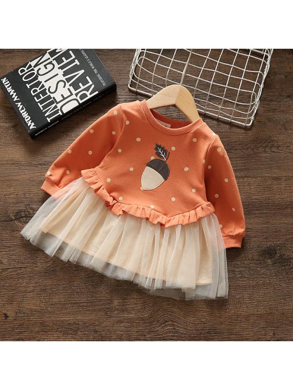 【12M-4Y】Girls Polka Dot Fluffy Gauze Stitching Dress