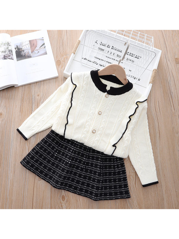 【18M-7Y】Girls Round Neck Sweater Cardigan Plaid Pleated Skirt Two-piece Suit