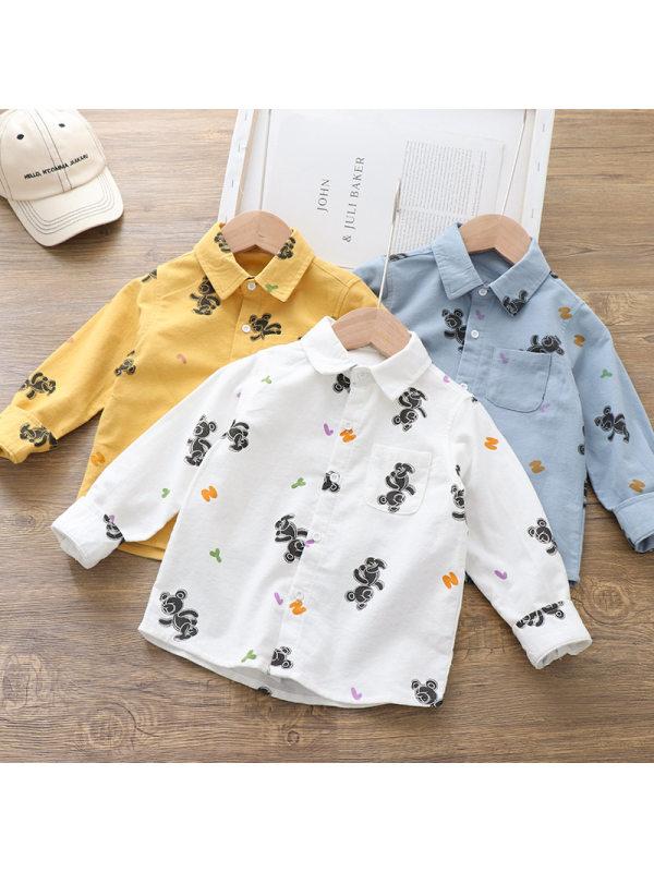 【18M-7Y】Boys Cartoon Bear Print Long-sleeved Shirt