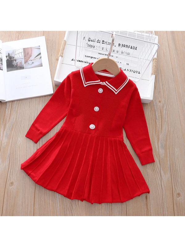 【18M-7Y】Girls Long Sleeve Sweet Cardigan Dress