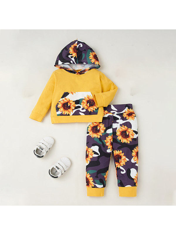 【6M-3Y】Baby Hooded Sweatshirt With Sunflower Print Pants Two-piece Suit
