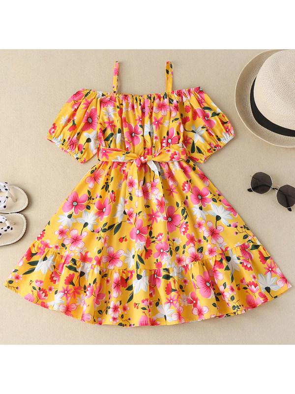【18M-7Y】Girl Sweet Flower Printed Yellow Dress