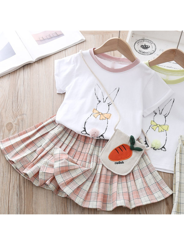 【18M-7Y】Girls Bunny Print Short Sleeve T-shirt Plaid Skirt Two-piece Set With Bag
