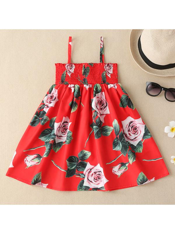 【18M-7Y】Girl Sweet Flower Print Red Sling Dress
