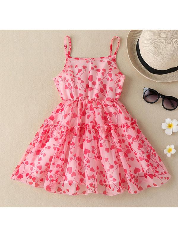 【18M-8Y】Girls Sweet Heart Shape Print Pink Dress