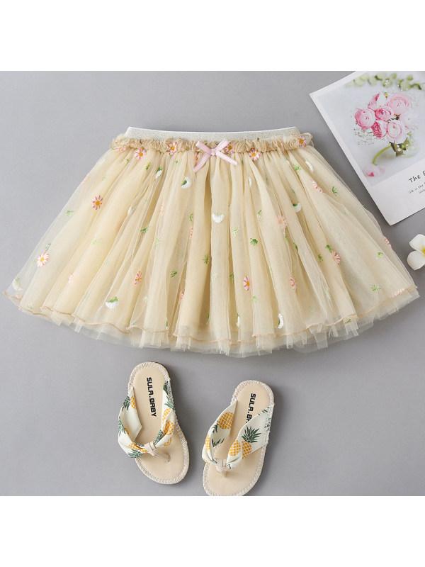【18M-7Y】Girl Sweet Flower Embroidery Light Yellow Mesh Skirt