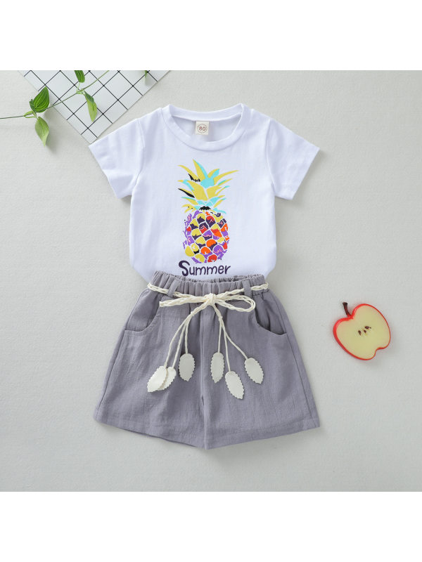 【12M-5Y】Girls Short-sleeved Pineapple Print Top With Solid Color Shorts Suit