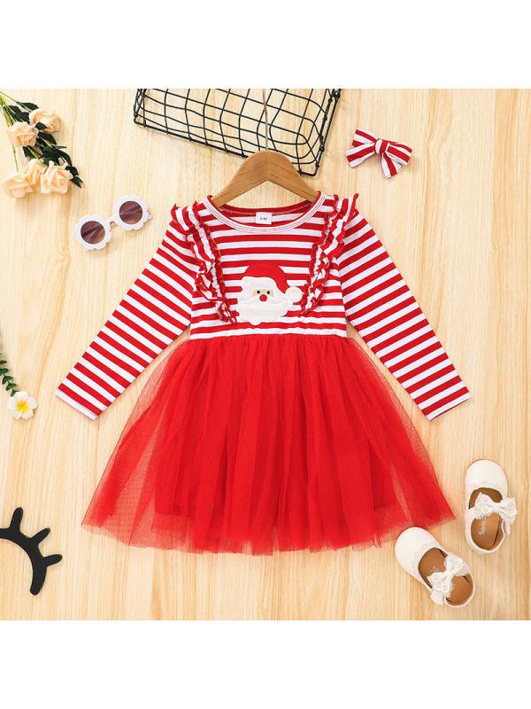 【18M-7Y】Girls Christmas Striped Long Sleeve Mesh Dress
