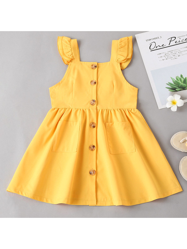 【18M-7Y】Girl Sweet Little Flying Sleeve Yellow Dress