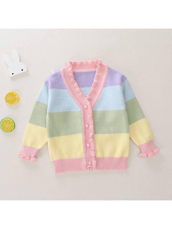 【12M-7Y】Girls V-neck Rainbow Striped Cardigan