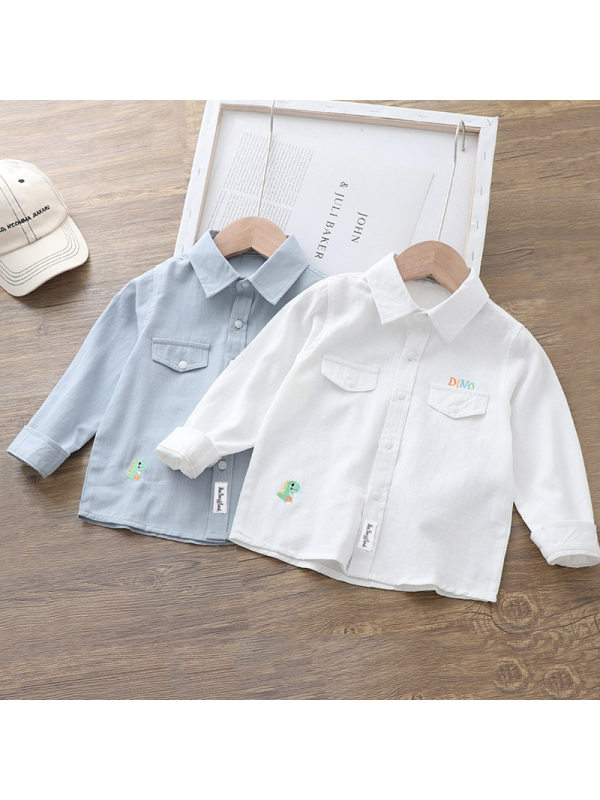 【18M-7Y】Boys Cartoon Letter Embroidered Lapel Shirt