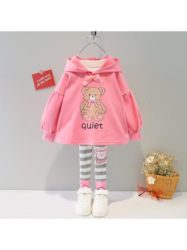 【9M-4Y】Girls Cartoon Print Hooded Sweatshirt and Leggings Set