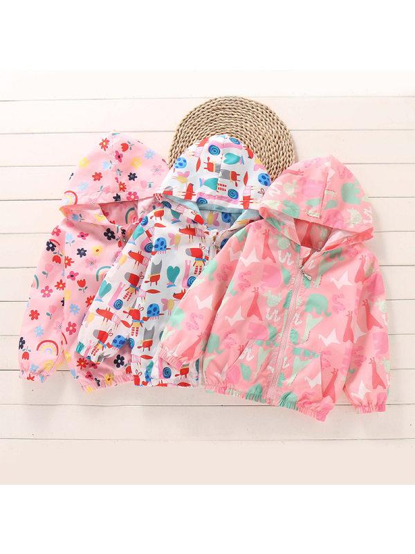 【18M-9Y】Girls Full Print Hooded Windbreaker Jacket