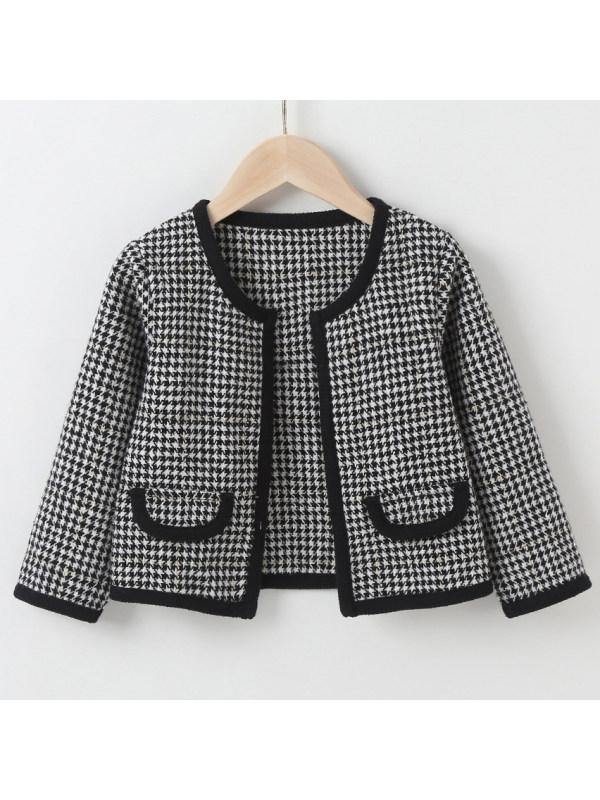 【18M-7Y】 Girls Elegant Houndstooth Long Sleeve Jacket