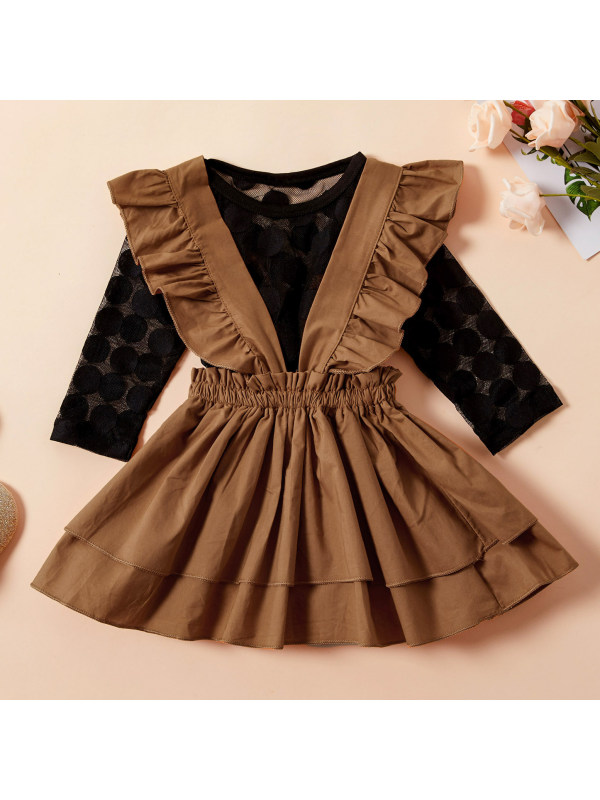 【12M-5Y】 Sweet Black Lace T-shirt And Brown Skirt Set
