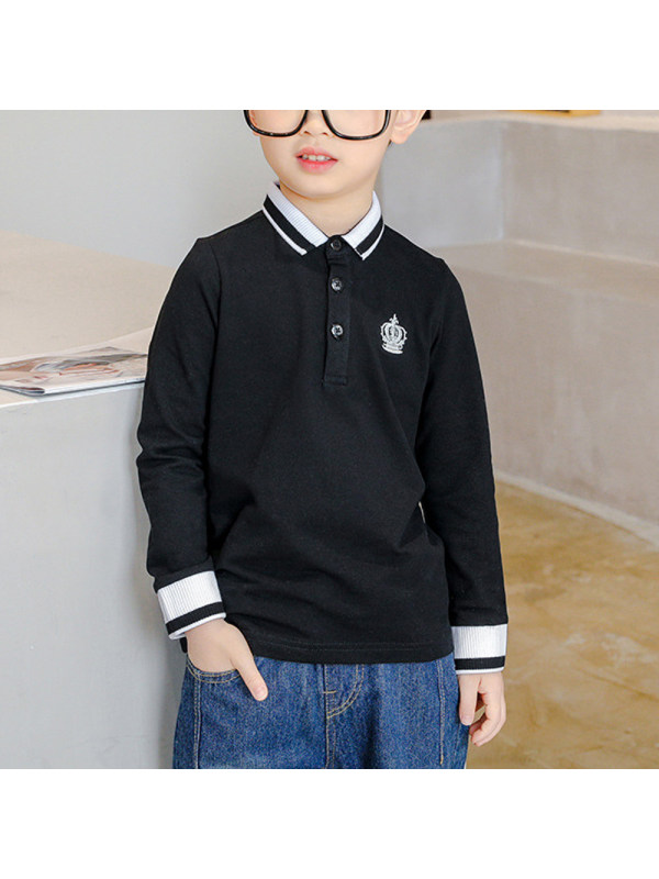 【3Y-13Y】Boys College Style Lapel Long-sleeved Embroidered Polo Shirt