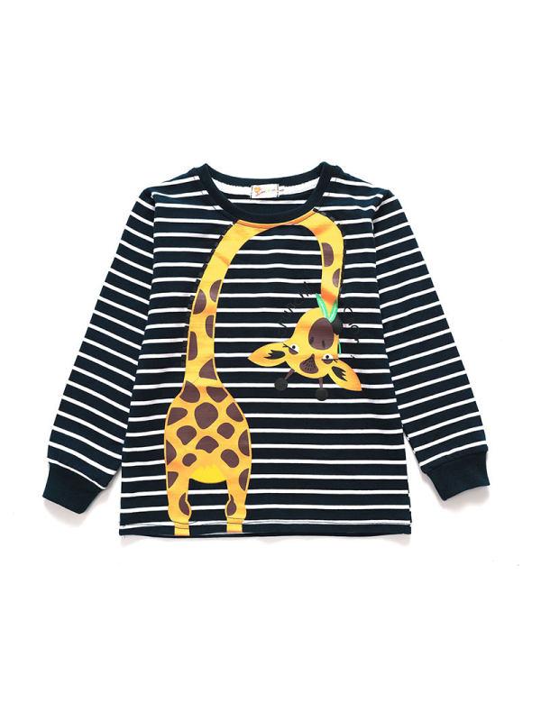 【18M-9Y】Boys Striped Boys Round Neck Cartoon Giraffe T-Shirt
