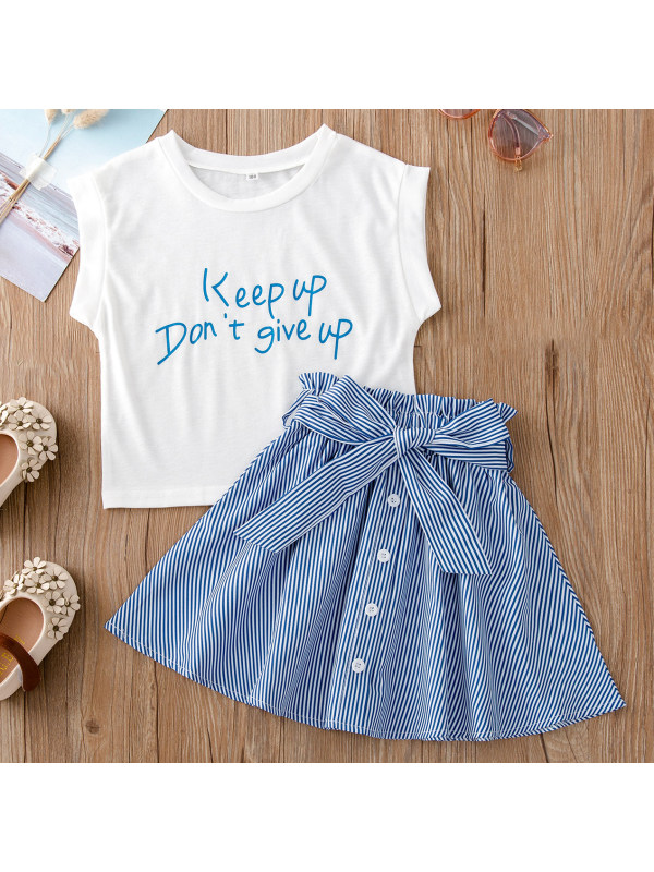 【18M-7Y】Girl Letter Print T-shirt And Blue Striped Skirt Set