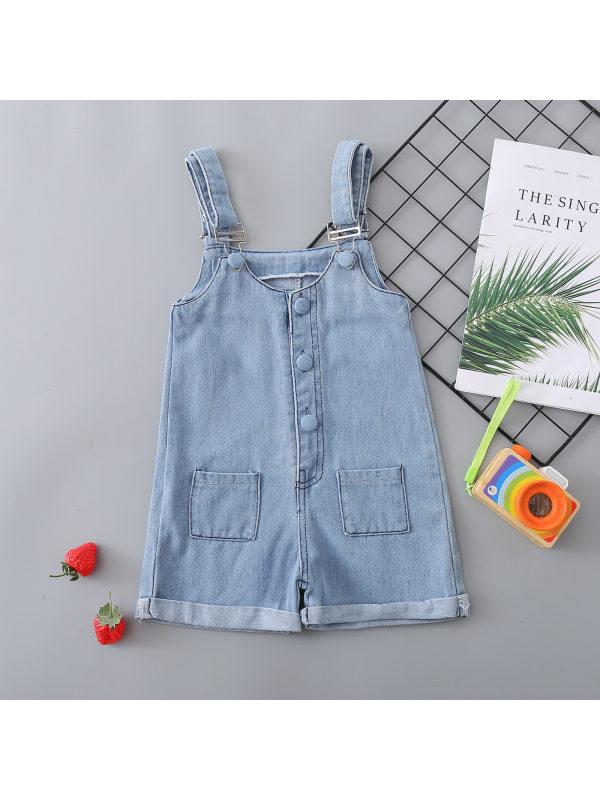 【12M-5Y】Girl Light Blue Denim Overalls