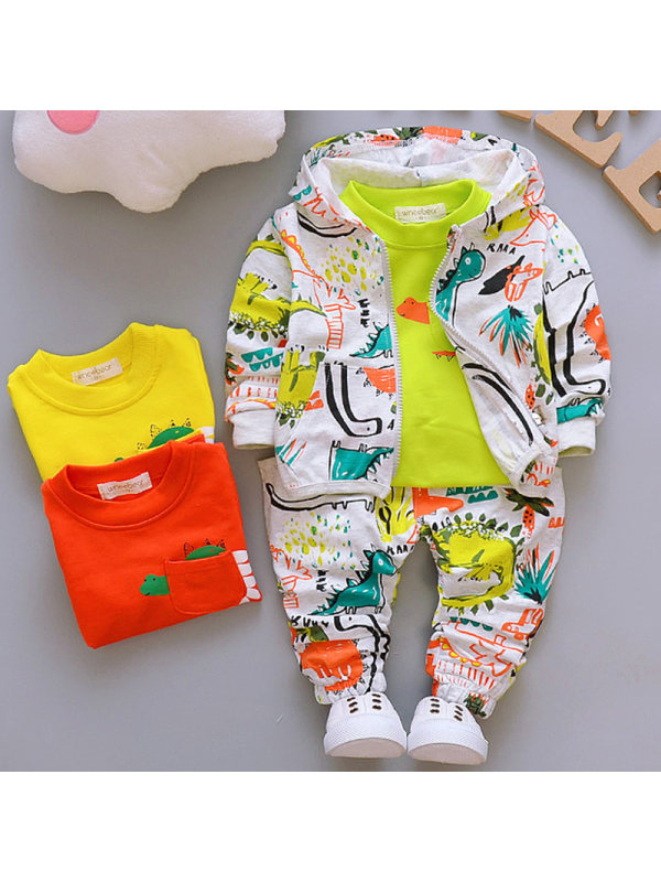 【12M-4Y】Boys Fashion Dinosaur Pattern Sweatshirt Jacket Pants Three-piece Set