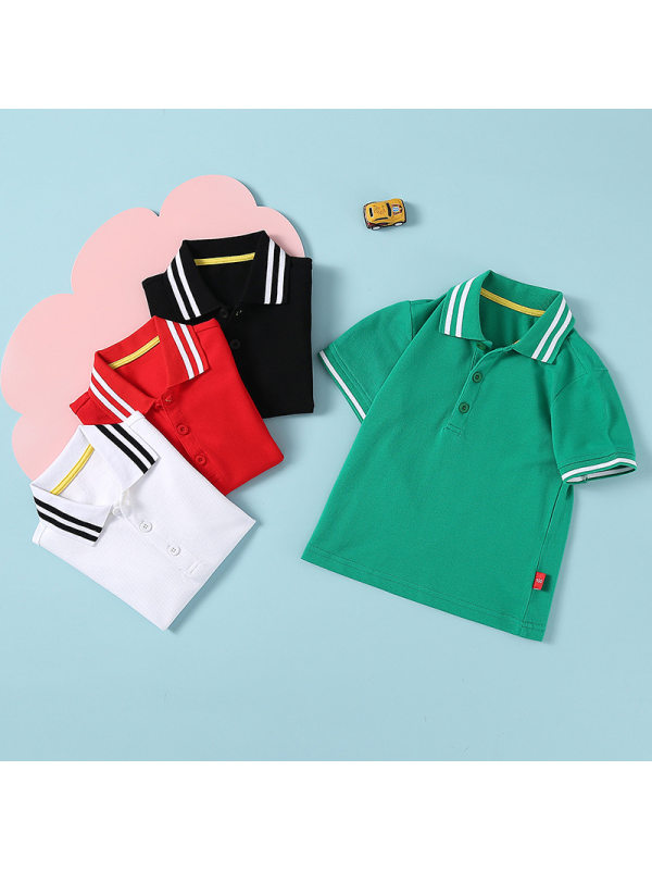 【18M-11Y】Big Boys Short-sleeved Lapel Solid Color Polo Shirt T-shirt