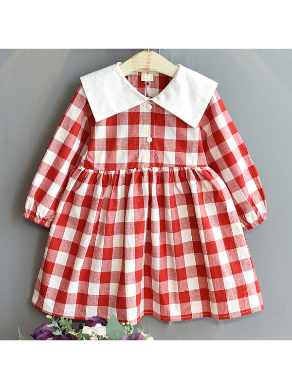 【18M-7Y】Girls Sweet Plaid Long Sleeve Dress