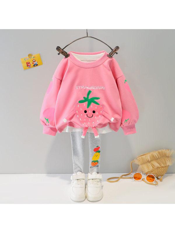 【9M-4Y】Girls Fruit Cartoon Print Sweatshirt and Leggings Suit