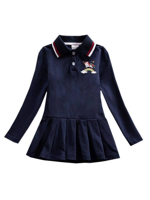 【18M-9Y】Girls Long Sleeve Pleated Polo Dress