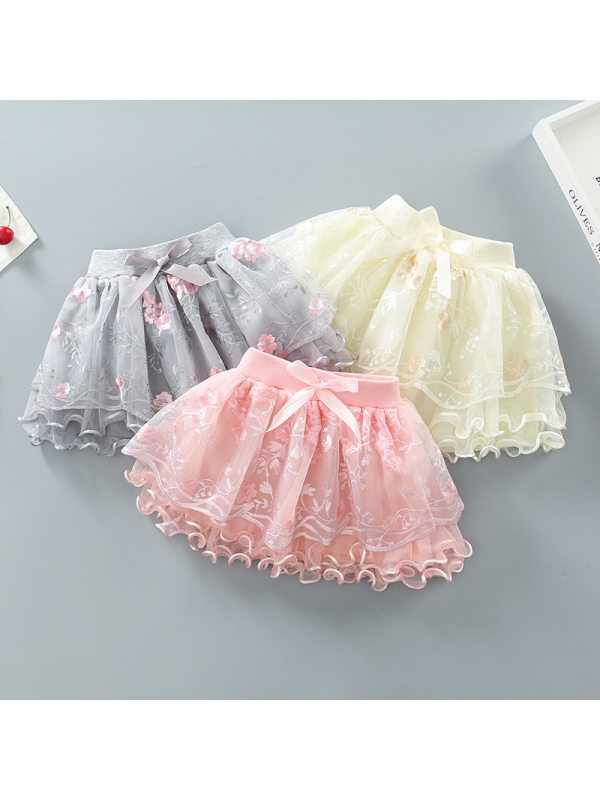 【18M-9Y】Girls Embroidered Puffy Mesh Skirt