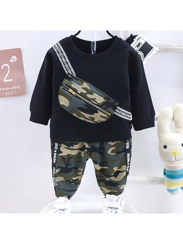 【12M-5Y】Boys Fashion Camouflage Sweatshirt Pants Suit