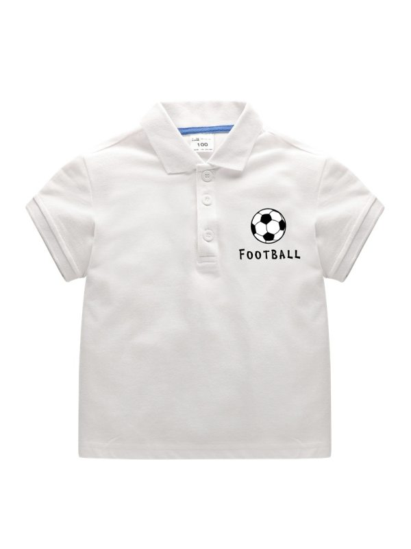 【18M-11Y】Boys Short Sleeve Lapel Cartoon Print Polo Shirt T-shirt