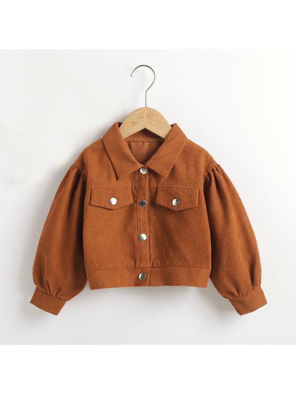 【18M-7Y】Girls Casual Corduroy Long Sleeved Jacket