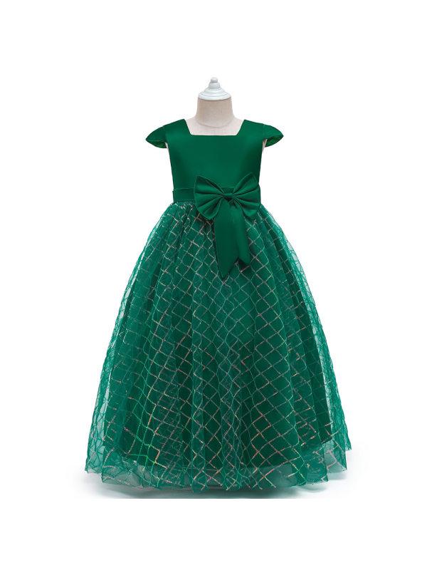 【4Y-15Y】Big Girl Sleeveless Mesh Princess Evening Dress